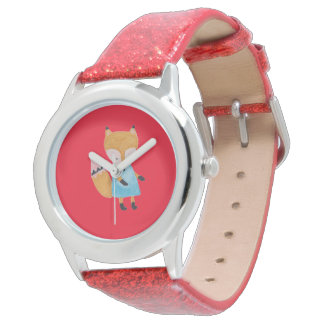 Fox adorable del arbolado de los amigos del bosque relojes de pulsera