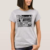Fox Adventures Block Print Art T-shirt