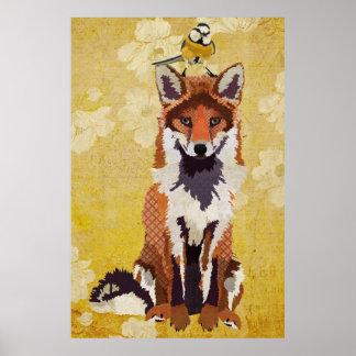 Fox ambarino y pequeño poster del arte del pájaro