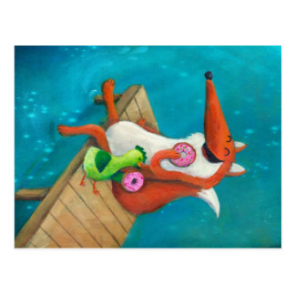 Fox amistoso y pollo que comen los anillos de tarjetas postales