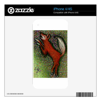 Fox Among the Flowers Skin For iPhone 4
