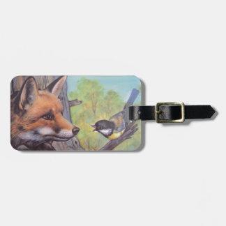fox and bird bag tag