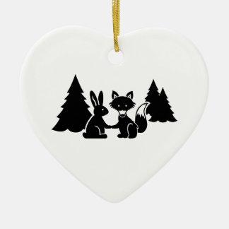 Fox and bunny ceramic ornament