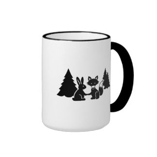 Fox and bunny ringer mug