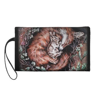 Fox and Bunny Sleeping Drawing of Animal Art Wristlet Clutch