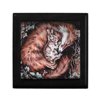 Fox and Bunny Sleeping Drawing of Animal Art Jewelry Box