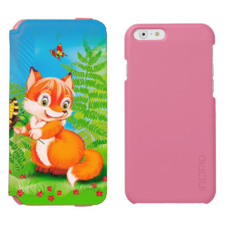 fox and butterfly iPhone 6/6s wallet case