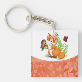 fox and butterfly keychain