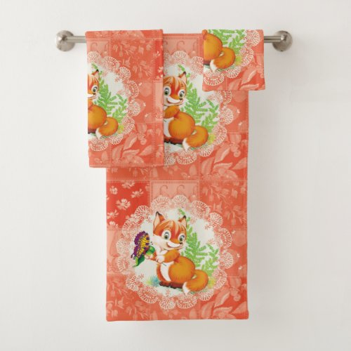 fox and butterfly pattern bath towel set