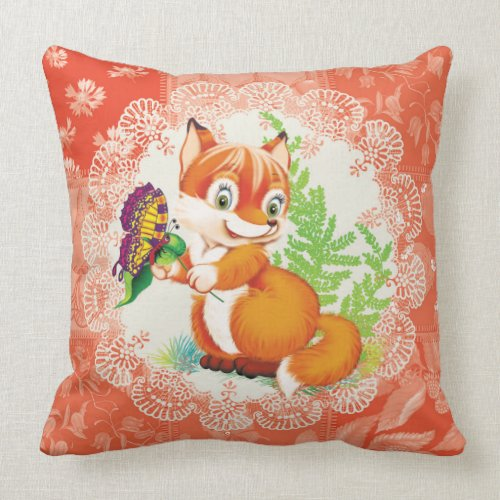 fox and butterfly pillow