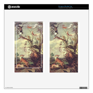 Fox and cat by Frans Snyders Decal For Kindle Fire