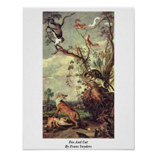 Fox And Cat By Frans Snyders Poster
