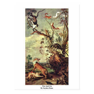 Fox And Cat By Snyders Frans Postcards