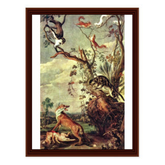 Fox And Cat By Snyders Frans Postcard