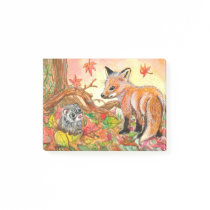 Fox and Ferret in Autumn Leaves Post-it Notes