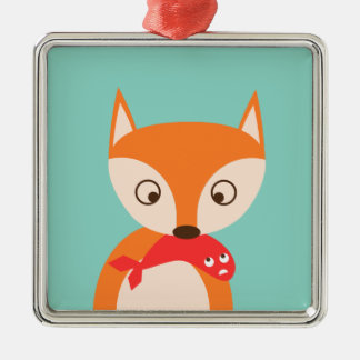 Fox and Fish Metal Ornament