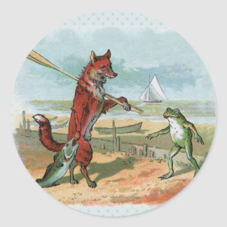 fox and frog vintage going fishing classic round sticker