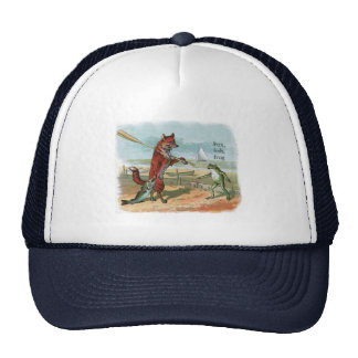 fox and frog vintage going fishing hat