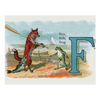 fox and frog vintage going fishing postcard