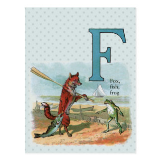 fox and frog vintage going fishing post card