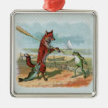 fox and frog vintage going fishing square metal christmas ornament