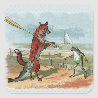 fox and frog vintage going fishing square sticker