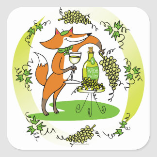 Fox and Grapes: Vin Blanc Square Sticker