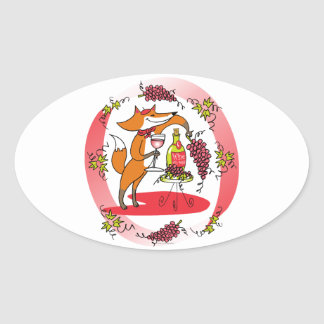 Fox and Grapes: Vin Rose Oval Sticker