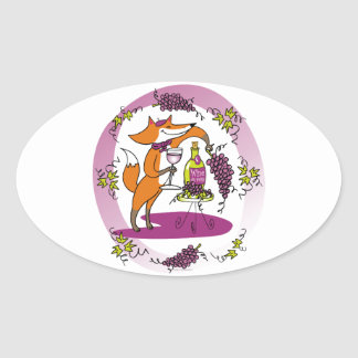 Fox and Grapes: Vin Rouge Oval Sticker