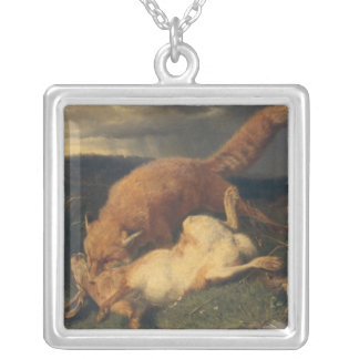 Fox and Hare, 1866 Silver Plated Necklace