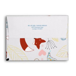 Fox and Hearts Baby Girl Shower Envelopes