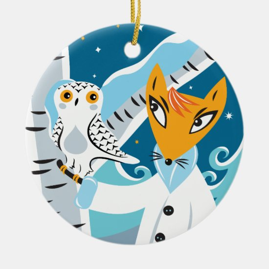 Fox and Owl Ceramic Ornament