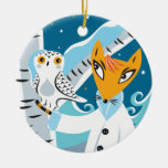 Fox and Owl Double-Sided Ceramic Round Christmas Ornament