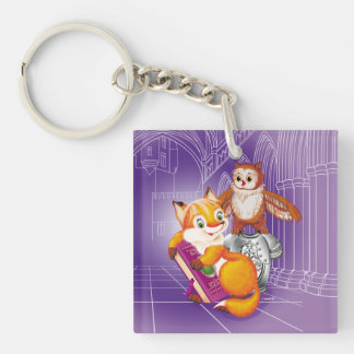 fox and owl Double-Sided square acrylic keychain
