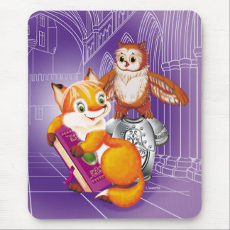 fox and owl mouse pad