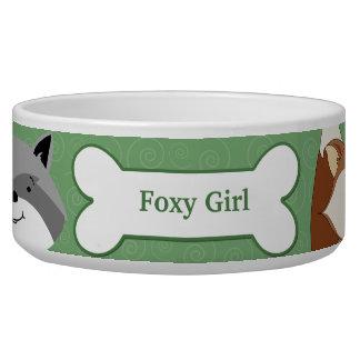 Fox and Raccoon Custom Pet Dog Food Bowl - Green