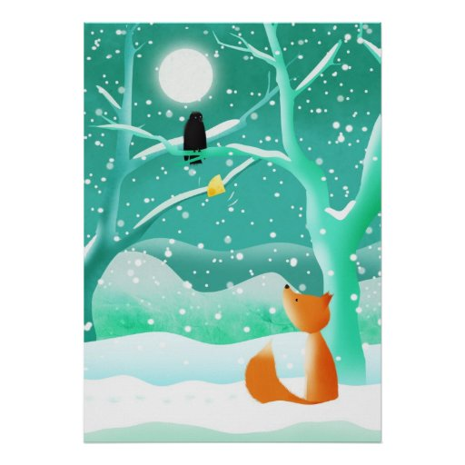 Fox and the crow - framed print