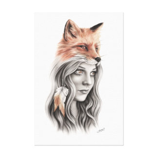 Fox and the girl Canvas
