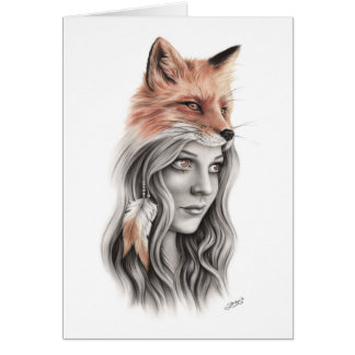 Fox and the girl Spiritual Greeting Card