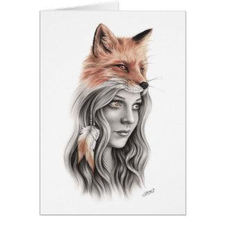 Fox and the girl Spiritual Greeting Card