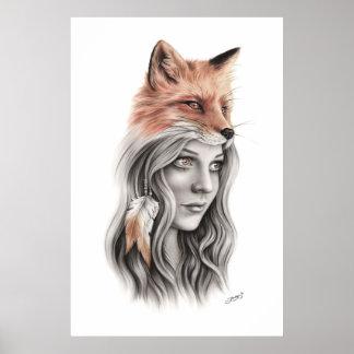 Fox and the girl Spiritual Poster