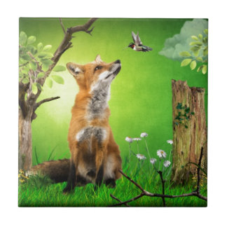 fox and the humming bird tile