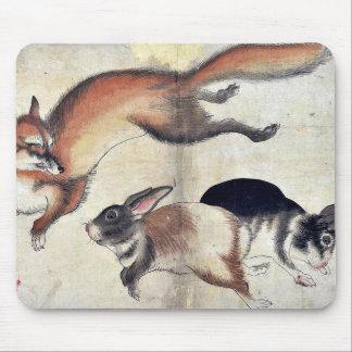 Fox and two hares Ukiyo-e. Mouse Pad