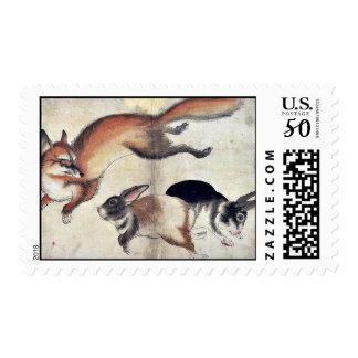 Fox and two hares Ukiyo-e. Postage