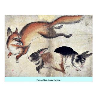 Fox and two hares Ukiyoe. Postcard