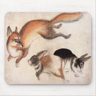 Fox and Two Hares, Vintage Japanese Painting Mouse Pad