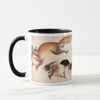 Fox and Two Hares, Vintage Japanese Painting Mug