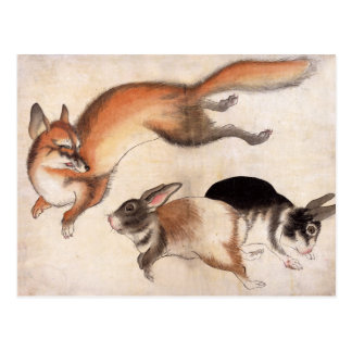 Fox and Two Hares, Vintage Japanese Painting Postcard