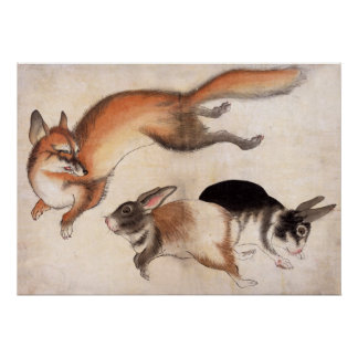 Fox and Two Hares, Vintage Japanese Painting Poster