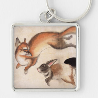 Fox and Two Hares, Vintage Japanese Painting Silver-Colored Square Keychain